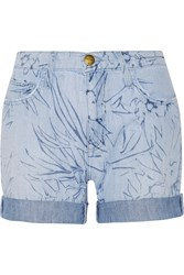 Current Elliott The Slouchy Cutoff Printed Denim Shorts Blue