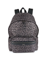 Saint Laurent Leopard Print Canvas Backpack