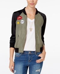 Material Girl Juniors' Patched Bomber Jacket Only At Macy's Olive