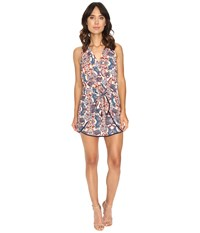 Adelyn Rae Woven Romper With Tie Rust Blue Women's Jumpsuit And Rompers One Piece Multi