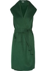 Oscar De La Renta Draped Fleece Wool Blend Vest Forest Green