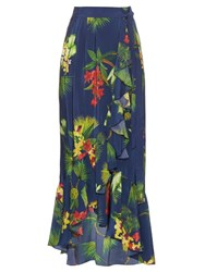 Isolda Carmen Tropical Print Ruffle Silk Skirt Navy Multi