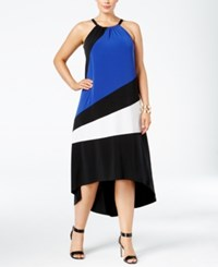 Inc International Concepts Plus Size Colorblocked High Low Dress Only At Macy's Goddess Blue