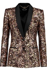 Just Cavalli Metallic Satin Trimmed Sequined Jersey Blazer