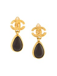 Chanel Vintage Teardrop Cc Logo Earrings Black