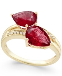 Macy's Ruby 4 Ct. T.W. And Diamond Accent Statement Ring In 14K Gold Yellow Gold