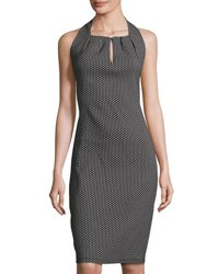 Max Studio Sleeveless Keyhole Jacquard Dress Black White
