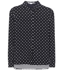 Stella Mccartney Polka Dot And Striped Silk Blouse Black