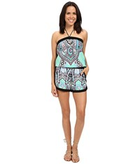 Hale Bob Life's A Beach Romper Mint Green Women's Jumpsuit And Rompers One Piece