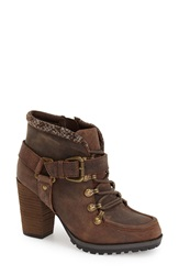 Kensie 'Dalla' Lace Up Bootie Women Brown Faux Leather