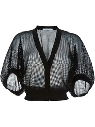 Givenchy Cropped Fishnet Cardigan Black
