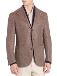 Eidos Camel And Wool Herringbone Blazer Brown
