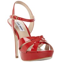 Steve Madden Kaiden Peep Toe Stiletto Sandals Red Patent