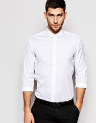 Hugo By Hugo Boss Smart Shirt In Slim Stretch Cotton And Eyelet Collar In White White