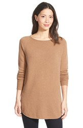 Petite Women's Halogen Shirttail Wool And Cashmere Boatneck Tunic Heather Dark Camel