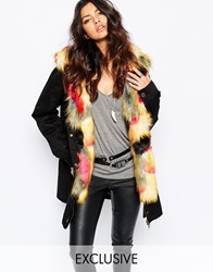 Faux London Parka Coat With Faux Fur Lining Blackmulti