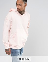 Other Uk Oversized Hoodie With Raw Edges Pink