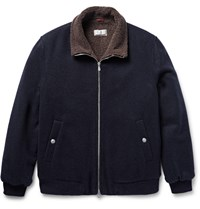 Brunello Cucinelli Shearling Lined Cashmere Bomber Jacket Blue