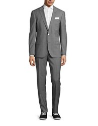 Hugo Wool Windowpane Suit Grey
