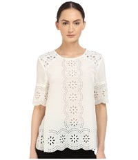 Kate Spade Embroidered Daisy Swing Top Cream Women's Clothing Beige
