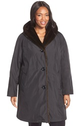 Gallery A Line Storm Coat With Faux Fur Lining And Trim Plus Size Black