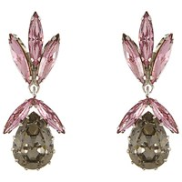 Eclectica Vintage 1950S Trifari Chrome Plated Austrian Glass Crystal Drop Clip On Earrings Pink Blossom Ash Grey