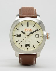 Boss Orange By Hugo Capetown Leather Watch In Brown Brown