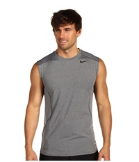 Nike Pro Combat Core Fitted S L Shirt Carbon Heather Black Men's Sleeveless Gray