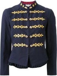 Muveil Floral Embroidered Military Jacket Blue