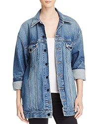 Alexander Wang T By Daze Denim Jacket In Light Indigo Aged Turquoise Aqua