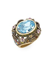 Heidi Daus You Thought You Had It All Multicolored Crystal Ring Gold Multi