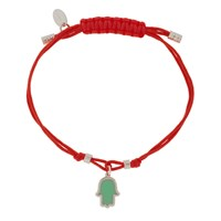Jemulet Sterling Silver Touch Of Luck Hamsa Charm Bracelet Red Turquoise