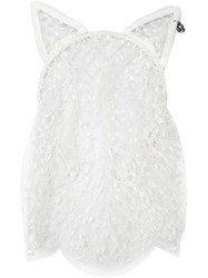 Maison Michel 'Cat Ear' Veil Headband White