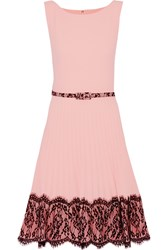 Mikael Aghal Belted Lace Trimmed Crepe Dress Pink