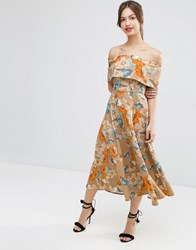 Asos Gold Floral Off The Shoulder Bardot Midi Prom Multi