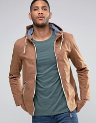 Brave Soul Hooded Jacket With Toggles Brown