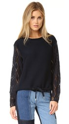 See By Chloe Lace Sleeves Top Navy