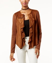 Inc International Concepts Petite Faux Suede Cascade Cardigan Only At Macy's Cowgirl Brown