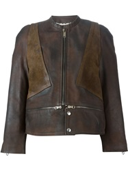 Golden Goose Deluxe Brand Wool Lined Leather Jacket Brown