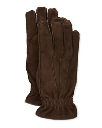 Brunello Cucinelli Suede Cashmere Lined Gloves Chocolate
