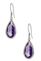 Olivia Leone Sterling Silver African Amethyst Teardrop Earrings Purple