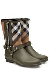 Burberry Shoes And Accessories Rubber Rain Boots With Checked Fabric Green