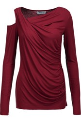 Bailey 44 Cutout Ruched Stretch Jersey Top Burgundy
