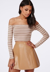 Missguided Long Sleeve Bardot Crop Top Stripe Taupe Grey