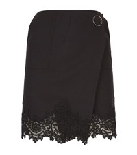 Sandro Roxy Lace Trim Skirt Female Black