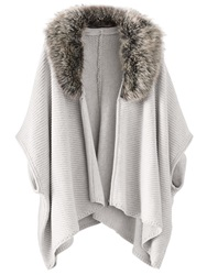 Poetry Faux Fur Trimmed Cape Pale Grey