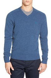 Men's Original Penguin V Neck Lambswool Sweater Dark Denim
