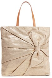 Red Valentino Redvalentino Embellished Metallic Canvas Tote Gold