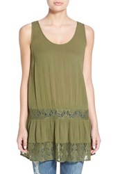 Junior Women's Sun And Shadow Lace Detail Drop Waist Tunic Olive Burnt