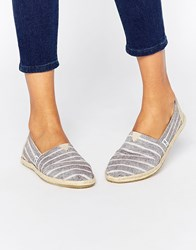 Toms Classic Brown Stripe Woven Flat Shoes Multi